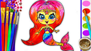 coloring pages kids rainbow mermaid drawing children