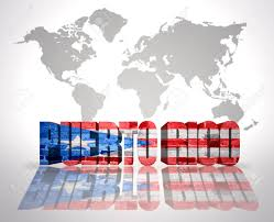Cuba And Puerto Rico Flag Word Puerto Rico With Puerto Rican Flag On A World Map Background
