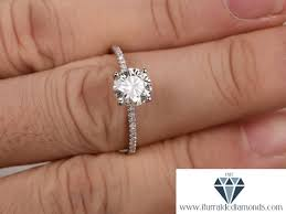 7mm diamond 7mm cut moissanite engagement ring diamond band solitaire