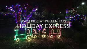 christmas lights train ride train ride at the annual holiday express at pullen park youtube