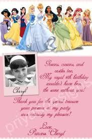 printable thank you cards princess custom photo invitations disney princess thank you you print