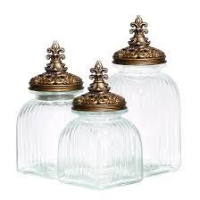 fleur de lis canisters for the kitchen casa cortes baroque fleur de lis 3 piece glass canister set