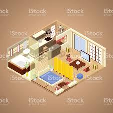 japanese style apartment interior isometric stock vector art