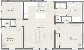 2 bedroom floorplans 2 bed 1 bath w study a b merwick stanworth faculty housing