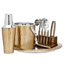 barware sets aztec gold 9 piece barware set