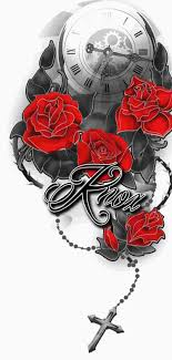 clock roses and chained cross with lettering pm
