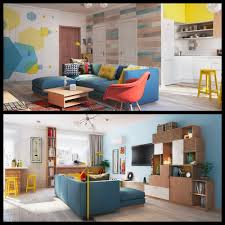 colorful flat interior design for a young couple home filled