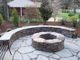 Dry Laid Bluestone Patio by Firepit This Uniquely Shaped Brick Veneered Fire Pit In