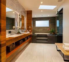 splendid tile to wood dark with wall mirrors spa bathroom bench