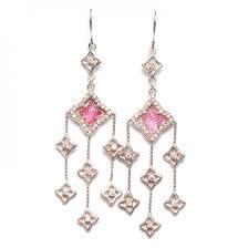 Pink Chandelier Earrings David Yurman Sterling Silver Pink Tourmaline Quatrefoil