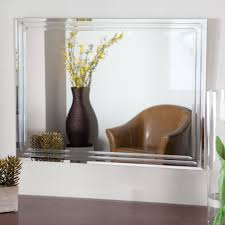 furniture frameless wall mirror with flower accent for home