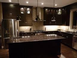 dark kitchen cabinets with light granite backsplash pinterest