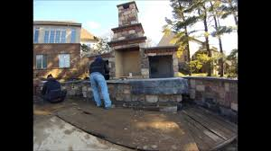 installing stone veneer on outdoor fireplace youtube