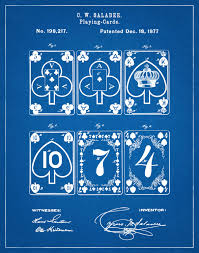 1877 playing cards patent print euchre cards game room decor