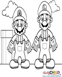 mario luigi standing super mario coloring pages