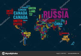 world map with country names image text world map country name typography design stock vector