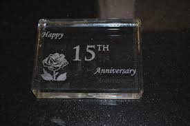 15th wedding anniversary gifts 15 year anniversary paperweight gift with happy 15th