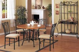 french 6 pcs round metal dining table set with wine rack