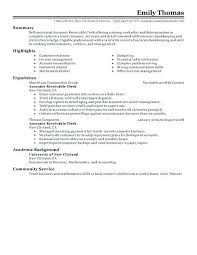 Clerical Resume Sample Accounts Receivable Clerk Resume Sample Gorgeous Inspiration