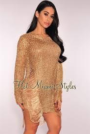 rose gold metallic ripped knit long sleeves sweater