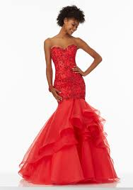 mermaid prom dress with intricately beaded bodice style 99021