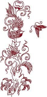 oriental design redwork oriental flora 1 embroidery design