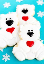 polar bear cookies with a baby cutter the bearfoot baker