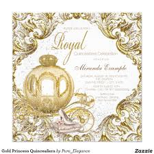 Princess Invitation Card Fairytale Princess Fancy Gold Sparkle Royal Princess Quinceañera