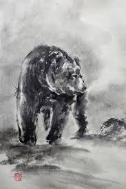 bear bear chinese sumi e painting wild life art black bear