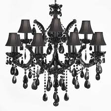Gallery Lighting Chandeliers Jet Black Crystal Chandelier With Black Shades Traditional