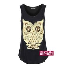 Gold Vest Womens New Ladies Gold Sequin Embroidered Owl Print Blouse Women U0027s Vest