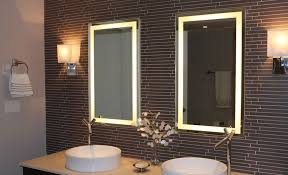 Lighted Mirrors For Bathroom Bordered Illuminated Lighted Bathroom Mirror With Great