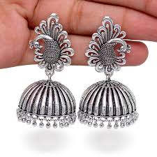 jhumka earrings buy beautiful oxidised silver tone peacock stud jhumka earrings online