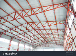 Warehouse Interior by Empty Industrial Warehouse Interior Red Steel Stock Photo 50001583