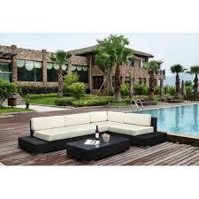 mobilier canapé grand mobilier canapé de jardin avec angle en résine tressée meloee