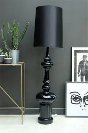 black gloss floor lamp with shade