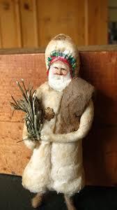 antique christmas santa cotton ornament with scrap paper face
