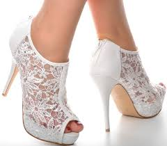 wedding shoes heels white lace diamante platform wedding ankle boots heels peeptoe