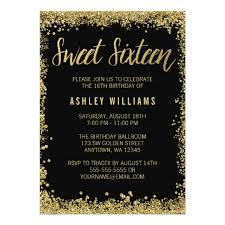 sweet 16 black gold glitter birthday card zazzle com