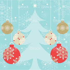 hanging ornaments on blue tree background stock vector
