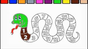 snake coloring page and numbers 1 to 20 snake puzzle youtube