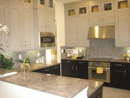 kitchen silver hoods closed two toned kitchen cabinets and small
