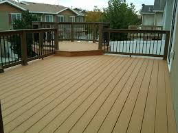 Composite Decking Brands Flooring Mocca Evergrain Decking Matched With Tan Railing For