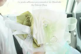 Porte Alliance Fleur Porte Alliance Mariage Original Tissu Blanc Vert Anis Porte
