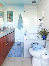 blue bathroom decor white tiles of standing shower room tan white