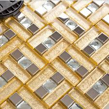 Stainless Steel  Glass Blend Metal Tile Sheets Diamond Glass - Glass and metal tile backsplash