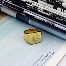 Gold Monogram Rings Gold Plated Fashion Monogram Initial Ring