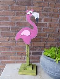 pink flamingo lawn ornament standing yard garden stake metal