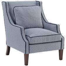 Blue Accent Arm Chair Norwalk Modern Tile Print Navy Piped Dark Brown Arm Chair 1 169
