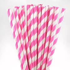 paper straws hot pink striped paper straws pipii